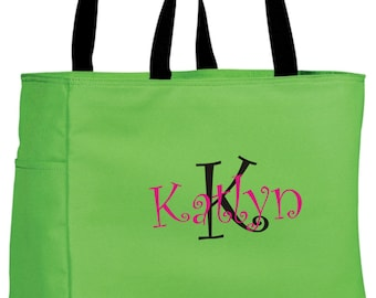 10 Bridesmaid Gift Monogrammed Personalized Tote Bag Wedding Party