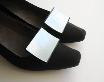 Vintage Plastic Large White Shoe Clips - Rectangle Shoe Clips - Shoe Jewelry