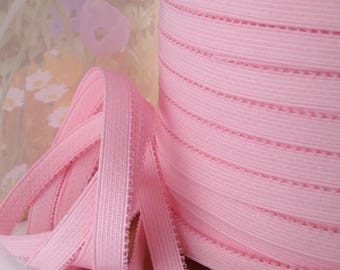 3yds Pink Elastic Ribbon Plain Trim Light Pink Stretch Sewing Trim 1/2 wide Bra Strap Plush back waistband Elastic by the yard