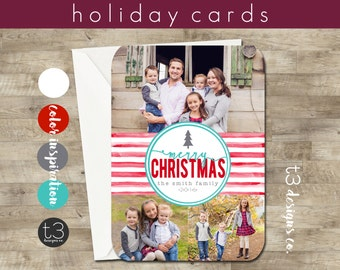 3 Photo Holiday Card, Photo Christmas Card, red and teal, red and white stripe, Chalk Christmas Card, watercolor Christmas Card