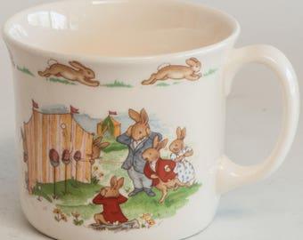 Vintage Royal Doulton Bunnykins Bone China Child's Breakfast Set Cup and Bowl - Bunnykins C1988