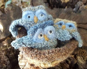 Crocheted owls in a nest, 3 owls, owl nest, baby owl
