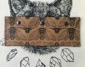 Large Tan Leather Screen Printed Cicada Wallet  Clutch  Pencil Case  Make up Bag