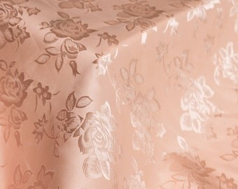 Peach Floral Jacquard Brocade Satin Fabric By the Yard Style 3006