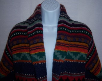 Vintage Casual Corner Shetland Wool Navajo Southwestern Tribal Indian Cardigan Flyaway Sweater Small Concho