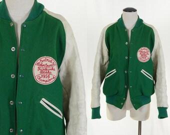 Vintage 1956 Men's Green Baseball Jacket - Fairbanks Alaska 1956 Champions Jacket by Dehen in Portland OR - Varsity Jacket