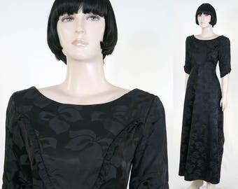 Vintage 1960s Black Satin Brocade Hawaiian Gown - Reef Made in Hawaii - Size 10 - 100% Rayon - Hibiscus Brocade