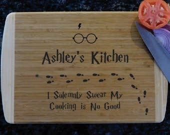 Personalized Two-Tone Custom Cutting Board, Bamboo Cutting Board, Butcher Block, Wedding Gift, Harry Potter Solumnly Swear Up to No Goood