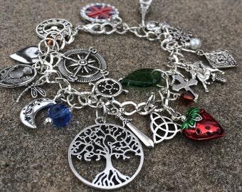 Outlander Bracelet Outlander Book Series Inspired Silver Tone Beaded Charm Bracelet Scottish Jamie & Claire Fraser Diana Gabaldon Novel V2
