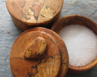 Custom Salt Cellar with Lid and Spoon, Pinch Bowl, Reclaimed Wood, Rustic Kitchen Dish
