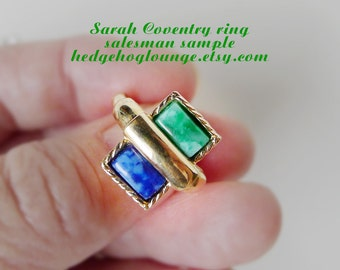 RARE Stacked Green Blue Gold SARAH Ring Dealer Sample, Collectible Coventry Marbled Mid Century Mod Rectangular Cabochon Vintage Jewelry