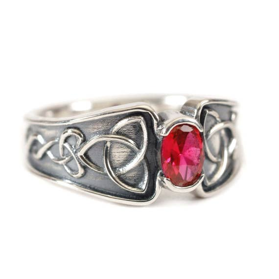 Personalized Ring Size in Celtic Ruby Ring With Trinity Interweave Knot Design in Sterling Silver, Handmade in Your Size 17D