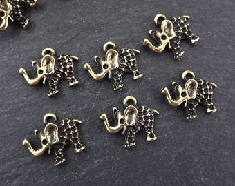 6 Rustic Elephant Charms Mini Bracelet Earring Addornments Components Drop Pendants - Antique Bronze Plated