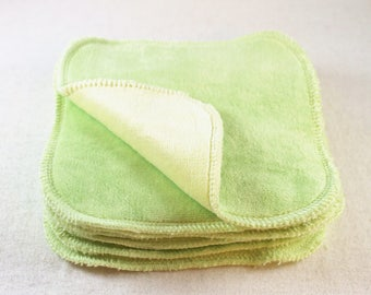 "2-ply Bamboo Velour 5"" x 5"" Wipes - Green/Yellow"
