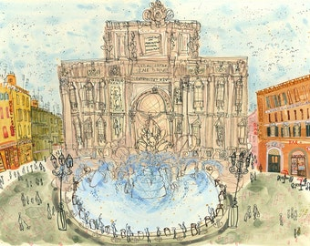 TREVI FOUNTAIN ROME Art Print Italy, Signed Limited Edition Print, Watercolor Painting, Fontana di Trevi, Italian Wall Art, Clare Caulfield