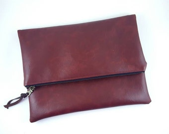 Vegan Leather Clutch, Leather Purse, Brown Purse, Gift For Her, Birthday Gift, Handbag