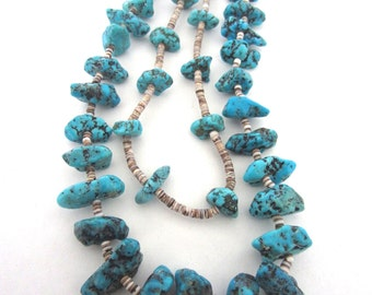 Vintage Native American Turquoise Double Chunk Necklace