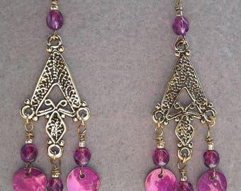 Purple Paua and Gold Dangle Earrings