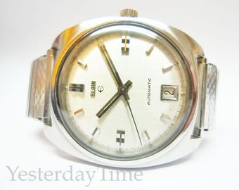 Elgin Men's Watch 1960's Swiss 17 Jewel Stainless Steel Case Automatic Movement