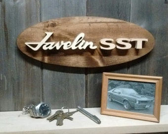 Javelin SST Emblem Oval Wall Plaque-Unique scroll saw automotive art created from wood for your garage, shop or man cave.