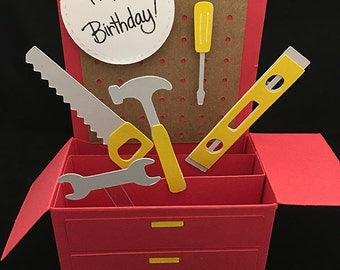 Tool Box Birthday Card in a box. A gift, greeting and decoration in one envelope.