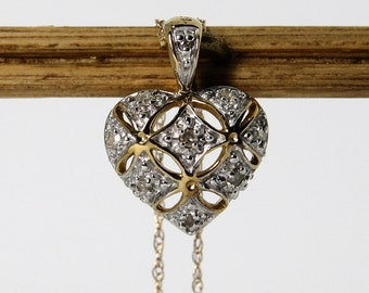 Vintage Diamond Heart Necklace 10K Gold 21 Inches Long
