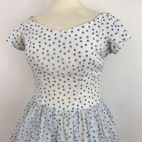 Original 1950s dress 1960s Spotty dress Blue white puffball skirt spotted 50s party Dress nylon Peck UK 14 pin up rockabilly VLV
