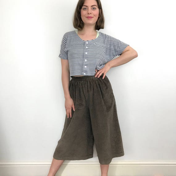 vintage coulottes cotton courdroy pantaloons UK 6 8 mom fit long shorts avant garde 1980s Annie Hall brown Laurel 80s culottes