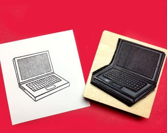Laptop Rubber Stamp