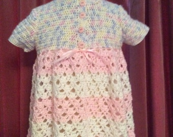 Dress, Handmade, Vintage style, Very pretty Pink, white, blue, lemon , crocheted, girls summer dress with short sleeves.
