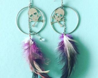 Skull & feather dangle earrings