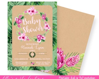 Aloha Baby Shower, hibiscus Baby Shower Invitation, Pink and Green Birthday Invitation, Baby Girl Invite- YOU PRINT