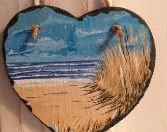 Slate art heart...Through the dunes. Hand painted. Coast/sea/boats/beach/nautical/home/gift