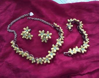 Vintage Yellow Flower and Green Rhinestone Demi Parure Set