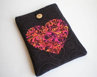Tablet case, iPad Air 2 case, iPad Air sleeve, Heart, Galaxy Tab sleeve, Kindle case, eReader case, Tablet sleeve, iPad sleeve, iPad case