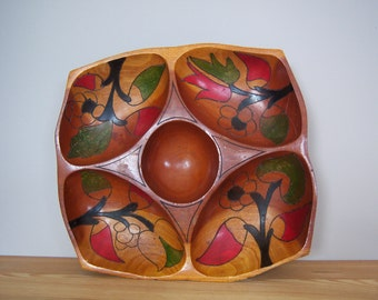 Wooden Hand Pained Serving Plate.