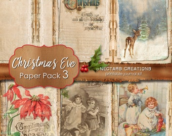 CHRISTMAS EVE_PP3- Printable Junk Journal Kit. Vintage coffee stained paper with lace, for Scrapbooking, Journals, Cards, Mixed Media crafts