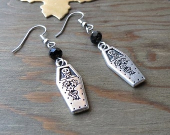 Coffin Earrings-Coffin-Silver Coffin-Morbid-Day of the Dead-Creepy-Dia de los Muertos - skulls-skeleton-halloween earrings-Casket Earrings