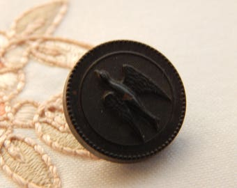 Bird in Flight - National Rubber Co. Button Using Goodyear's Patent of 1851
