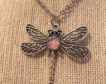 "14"" Light Pink Faux Druzy Dragonfly Necklace"