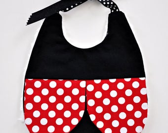 Ladybug Baby Bib, Handmade Baby Girl Bib, Polka Dot Ladybug Bib, Baby Girl Bib, Red Dots and Black, Baby Shower Gift, RTS