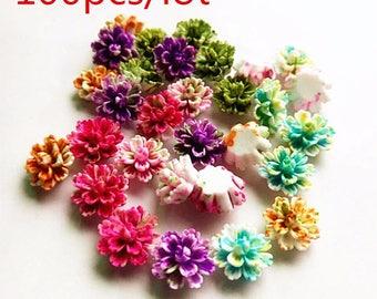 Resin Flower Splatter 100pcs  Mixed Colours Flat Back Resin Acrylic Pastel Cabochon Decoden Bulk Supply Supplies Cute Kawaii Charm 10mm