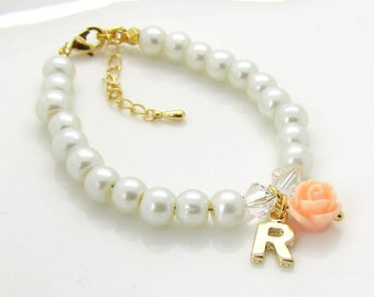 Gold personalized flower girl bracelet  • children's pearl bracelet  • gold flower girl jewelry  • flower girl gift  • wedding  • kids gifts