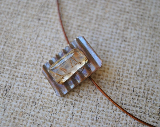 Golden Rutilated quartz stone and copper Pendant necklace, rustic, stone necklace, metal necklace