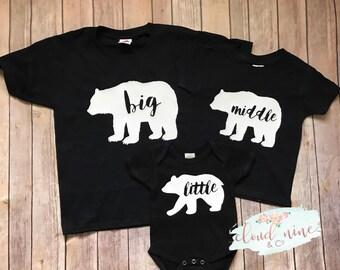Big Middle Little Bear Shirts, Big Bear Shirt, Little Bear Shirt, Sibling Shirts, Brother and Sister Bear Shirts, Cute family shirts