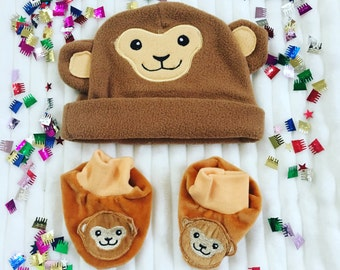 Newborn Fleece Hat and Matching Booties, Take Me Home Baby Outfit, Personalized Baby Hat and Booties, Newborn Monkey Baby Hat and Booties