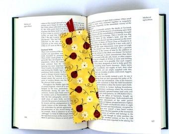 Ladybug Bookmark, Fabric Bookmark, Yellow Bookmark