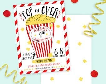 Popcorn and Movie Birthday Invitation - PRINTED INVITATIONS Red Black and Yellow Movie Popcorn Party Invite Movie Night Birthday