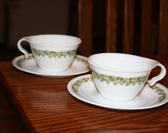 Vintage -2 Corelle Cups and Saucers with Spring Blossom Pattern