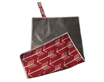 Red Arrow Travel Diaper Change Pad with Waterproof Backing- Ready to Ship